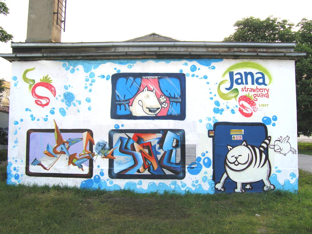 Graffiti wall zagreb - Jana Juicy Wall 2 Akril Sace Angel Lunar Zagreb 2005